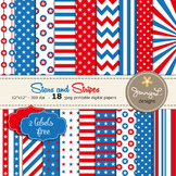 Stars and Stripes Digital Papers, Patriotic, Red, White and Blue