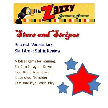 Stars and Stripes Folder Game Vocabulary Suffix Review