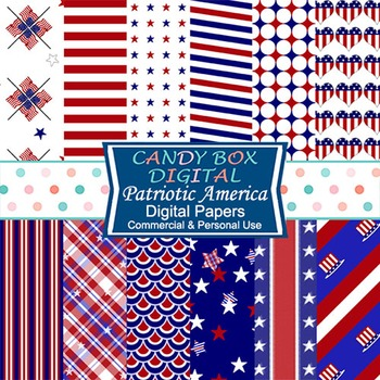 Red, White and Blue Patriotic Digital Background Papers
