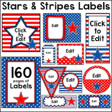 Stars and Stripes Patriotic Theme Classroom Labels - Red, White and Blue Decor