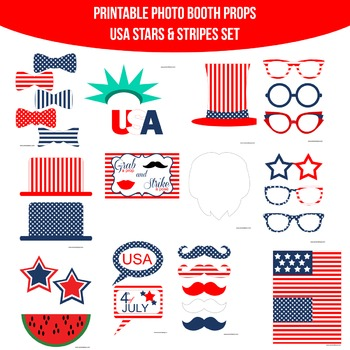 Stars and Stripes Printable Photo Booth Prop Set