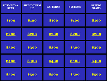 Jeopardy Review Game: Space Science Unit on Stars & the Universe