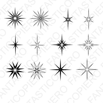 Stars and sparkles SVG files for Silhouette Cameo and Cricut.