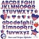 Stars and stripes Alphabet Clipart, July fourth, {Best Teacher Tools} AMB-919