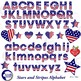 Stars and stripes Alphabet Clipart, Alphabet clipart, July