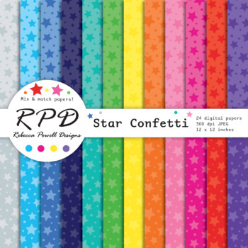 Stars confetti digital papers and backgrounds