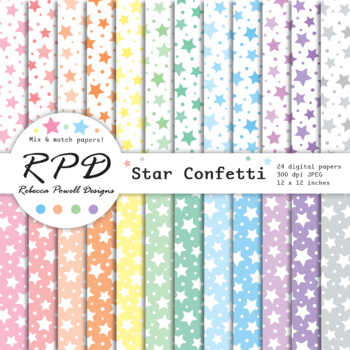 Star Confetti Digital Papers Pastel Colours Scrapbook Papers Backgrounds