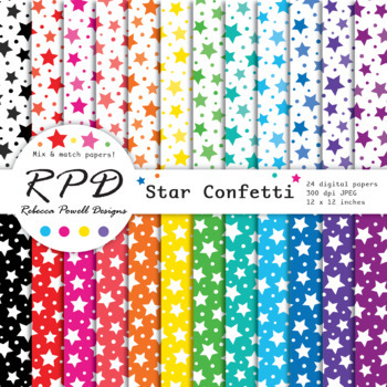 Stars confetti pattern rainbow colours & white digital paper set/ backgrounds
