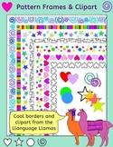 Borders / frames and clip art - Stars, hearts, spirals, spots, stripes -