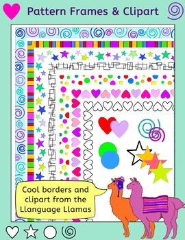 Borders / frames and clip art - Stars, hearts, spirals, sp