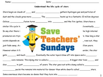 Stars' life cycles Lesson plan and Worksheet