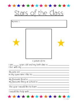Stars of our Classroom - Getting to know your students.