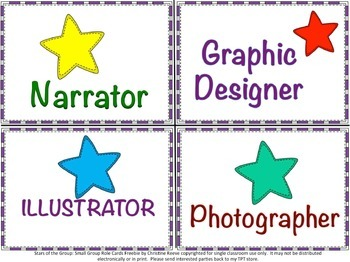 Stars of the Group: Small Group Role Cards Freebie (Autism)