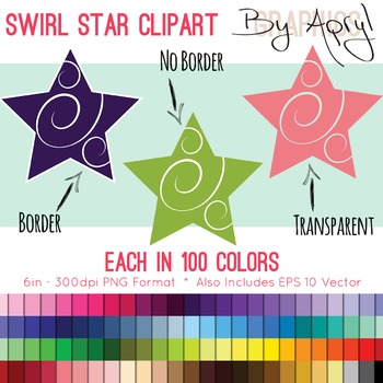 Stars with Swirl Clip Art in 100 Colors PNG and Vector EPS Commercial Use