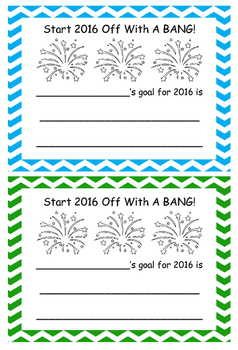 Start 2016 Off With a Bang Goal Setting Sheet