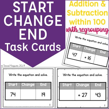 Start Change End Addition & Subtraction to 100 with regrouping Task Cards