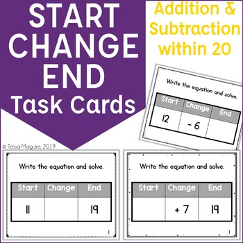 Start Change End Addition & Subtraction within 20 Problem Types Task Cards