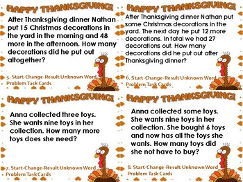 Start-Change-Result Unknown Thanksgiving Word Problem Task Cards