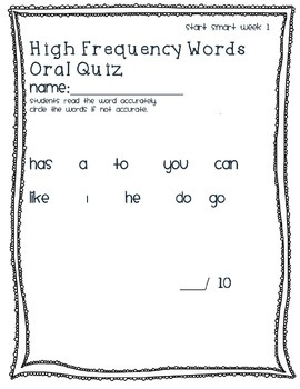 Start Smart Week 1 High Frequency Word Oral Quiz