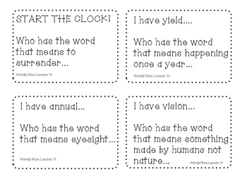Start The Clock Game! WordlyWise Lesson 11