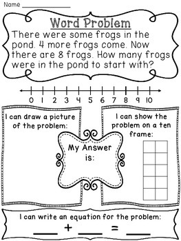 Start Unknown Addition Word Problems