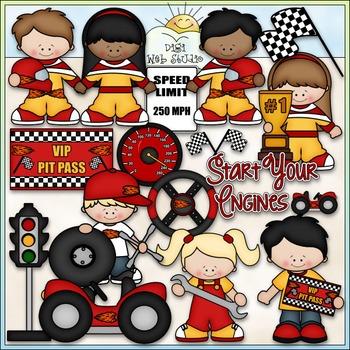 Start Your Engines Clip Art - Racing Clip Art - Race Cars - CU Clip Art & B&W
