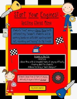 Start Your Engines: A Spelling Choice Menu for ELA Literacy Stations & More