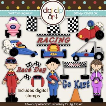 Start Your Engines! -  Digi Clip Art/Digital Stamps - CU Clip Art