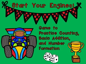 Start Your Engines!!! Kindergarten Math Game~Counting, Numbers and Addition