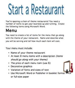 Start a Restaurant Project-Microsoft Word
