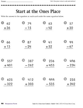 Start at the Ones Place (Take It to Your Seat Centers Common Core Math)