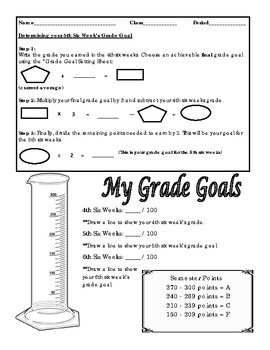 Start of 5th Six Week Grade Goal Setting Worksheet