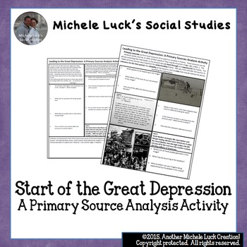 Start of Great Depression Causes Primary Source Analysis Handout US History