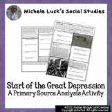 Start of Great Depression Causes Primary Source Analysis H