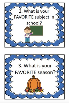 """Start of School - """"All About Me"""" Task Cards"""