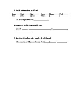 Start of School French Question and Answers Activity