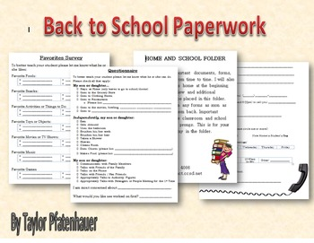 Start of School Paperwork