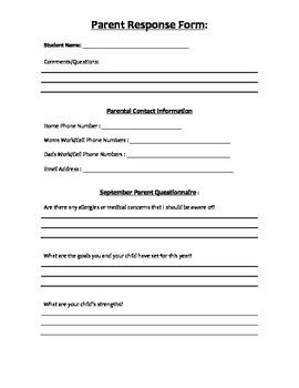 Start of School Parent Response Form