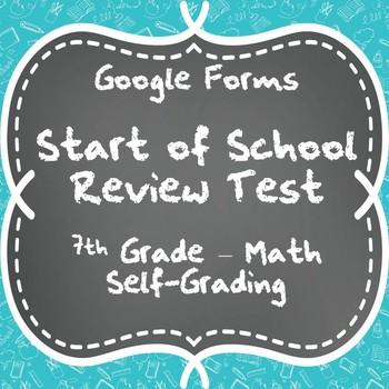Start of School Review Test - 7th Grade Math - Google Form Quiz