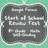 Start of School Review Test - 8th Grade Math - Google Form Quiz