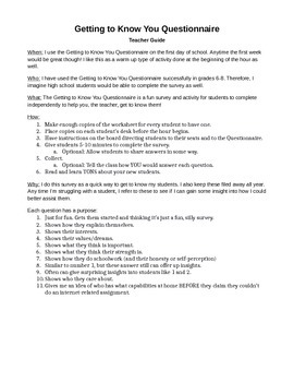 Start of School Survey - Getting to Know You Questionnaire (Editable)