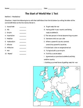 Start of WW1 History Study Guide and Test