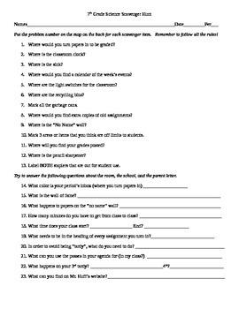 Start of Year Classroom Scavenger Hunt Idea