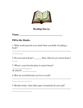 Start of school year- Reading Survey