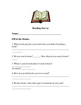 Start of school year- Reading Survey