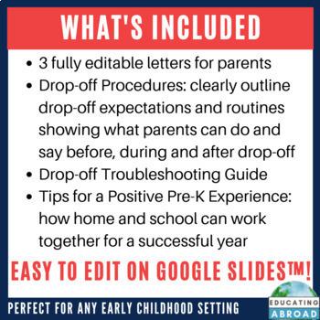 Start of the School Teacher-Parent Communication EDITABLE Drop-off Plan & Tips
