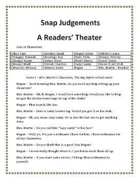 Start of the School Year Readers Theater - Snap Judgements Misconceptions