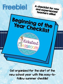 Start of the Year - Back to School Checklist!