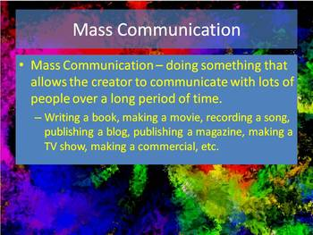 Start of the Year Intro Activity--Mass Communication, Text and Your Students