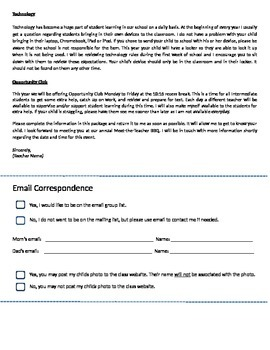 Start of the Year Letter to Parents